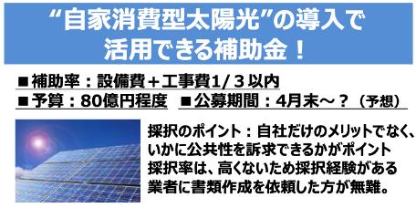 """""""自家消費型太陽光""""の導入で 活用できる補助⾦︕"""