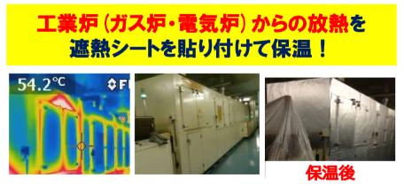 工業炉(ガス炉・電気炉)からの放熱を 遮熱シートを貼り付けて保温!