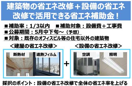 建築物の省エネ改修+設備の省エネ 改修で活用できる省エネ補助⾦ !